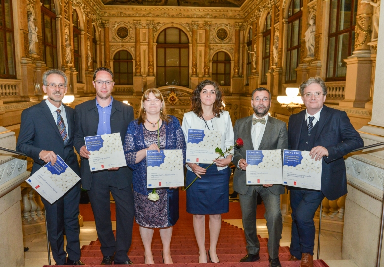 The six Grand Prix winners of the 2014 EU Prize for Cultural Heritage / Europa Nostra Awards after ceremony at the Burgtheater. From the left to the right, award-winning projects from Greece, Belgium, Romania, Hungary, Spain and Italy. Photo: Oreste Schaller.