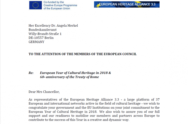 European Heritage Alliance 3.3 (Alliance), have signed and sent today a joint letter to the leaders of EU Member States with a forceful message