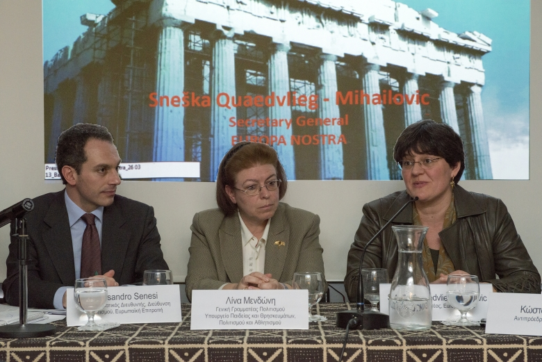 Alessandro Senesi, Deputy Head of Unit from the DG Education and Culture of the European Commission; Lina Mendoni, Secretary General for Culture of the Hellenic Ministry for Religious Affairs, Education, Culture and Sports; Sneška Quaedvlieg-Mihailović, Secretary General of Europa Nostra.