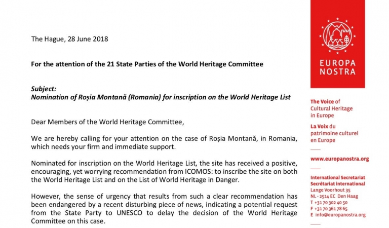 Europa Nostra's Executive President addresses open letter to World Heritage Committee regarding Roșia Montană
