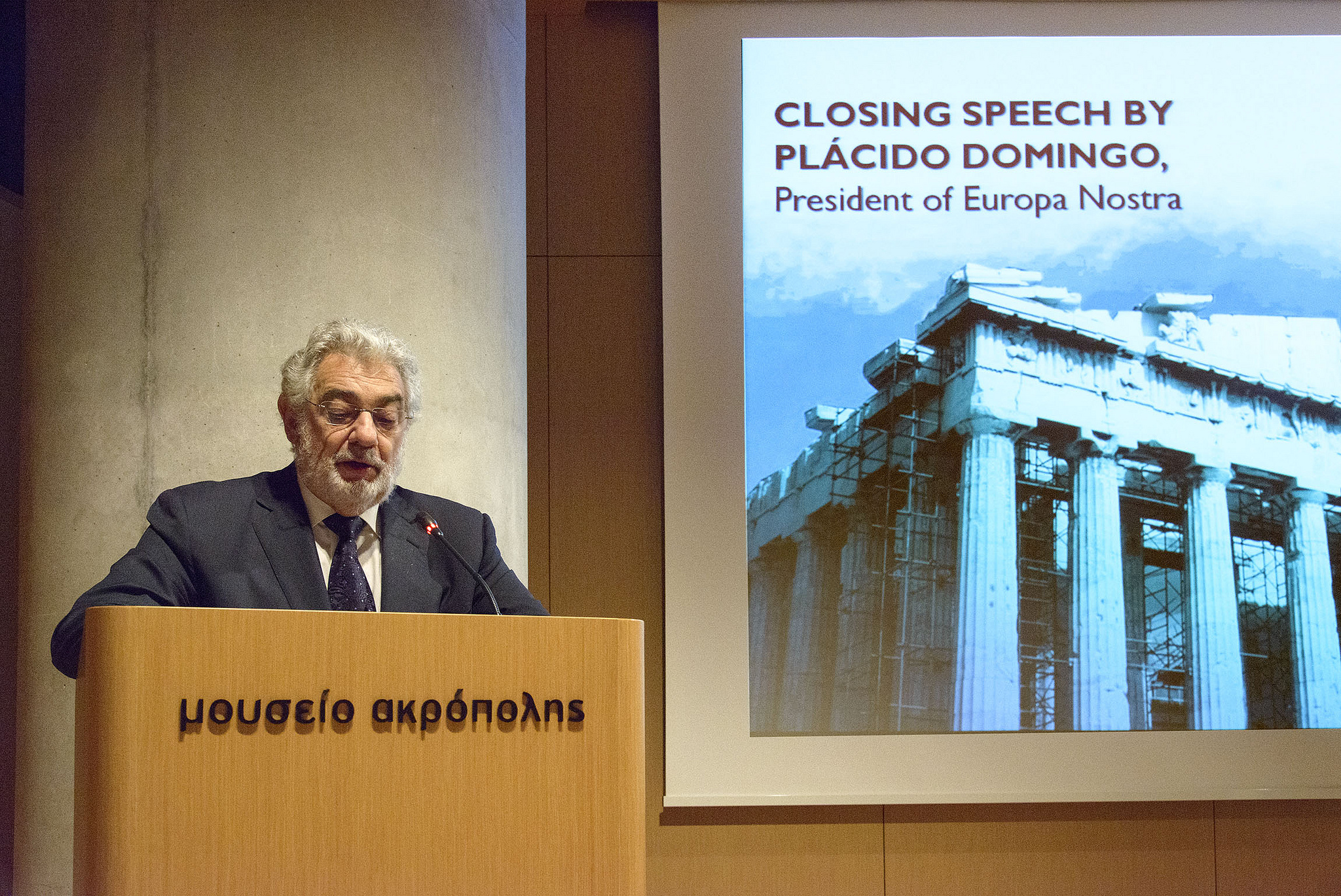 Plácido Domingo held a joint press conference at the Acropolis Museum in Athens Photo: Ilias Georgouleas
