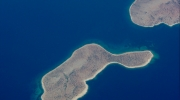 Aerial view of the island of Skyros, where, a massive majority of the population – with the support of the Hellenic Ornithological Society and Elliniki Etairia, Europa Nostra's Representation in Greece – successfully resisted a proposal for 111 huge wind turbines.