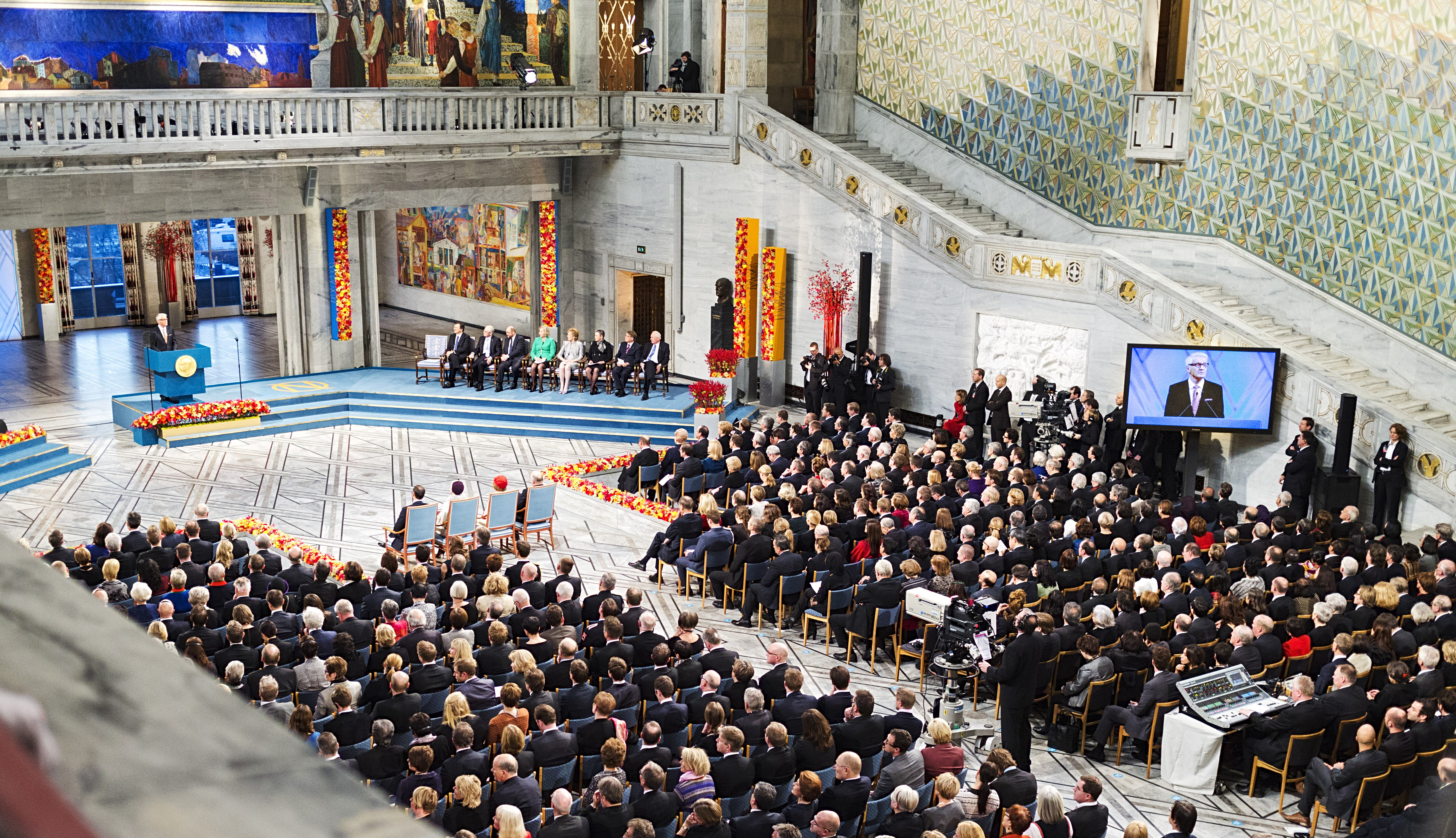 Ceremonial hall of Oslo City Hall. Photo: CC BY-ND 2.0, Utenriksdepartementet UD