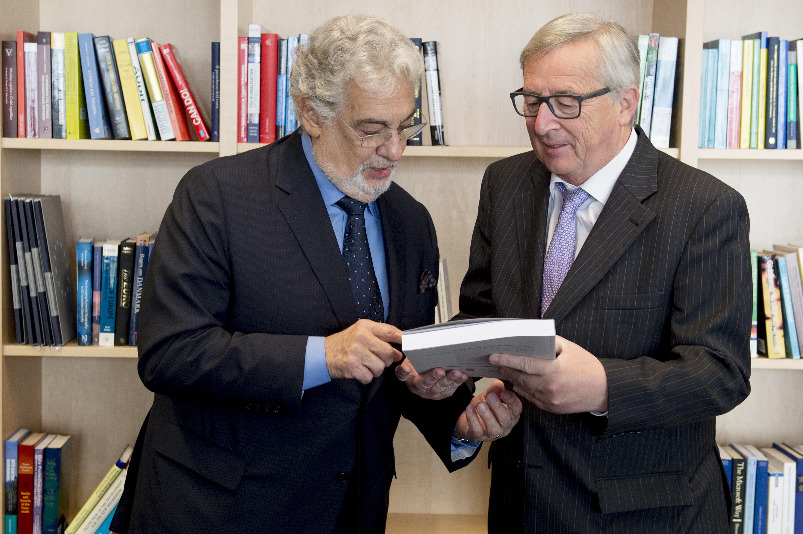 Jean-Claude Juncker and Placido Domingo. Photo: Courtesy of European Commission