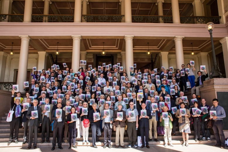 Group photo of all the participants in the Cultural Heritage Counts for Europe conference in front of the Aula of the Domus Media of Oslo University, 12 June 2015. Photo: Felix Quaedvlieg