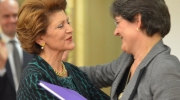 Androulla Vassiliou and Sneška Quaedvlieg-Mihailović at the farewell reception held at the EC headquarters in Brussels on 3 November 2014. Photo: Courtesy of EC