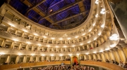 Around 600 people assembled to celebrate the remarkable conservation of the Teatro Sociale in Bergamo. Photo: Fondazione Donizetti/Gianfranco Rota