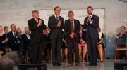 Denis de Kergorlay, Commissioner Navracsics, Roberto Nardi and HRH Crown Prince Haakon of Norway during the Awards Ceremony at Oslo City Hall on 11 June 2015. Photo: Espen Sturlason
